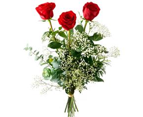 Ramo de rosas a domicilio, tres rosas rojas